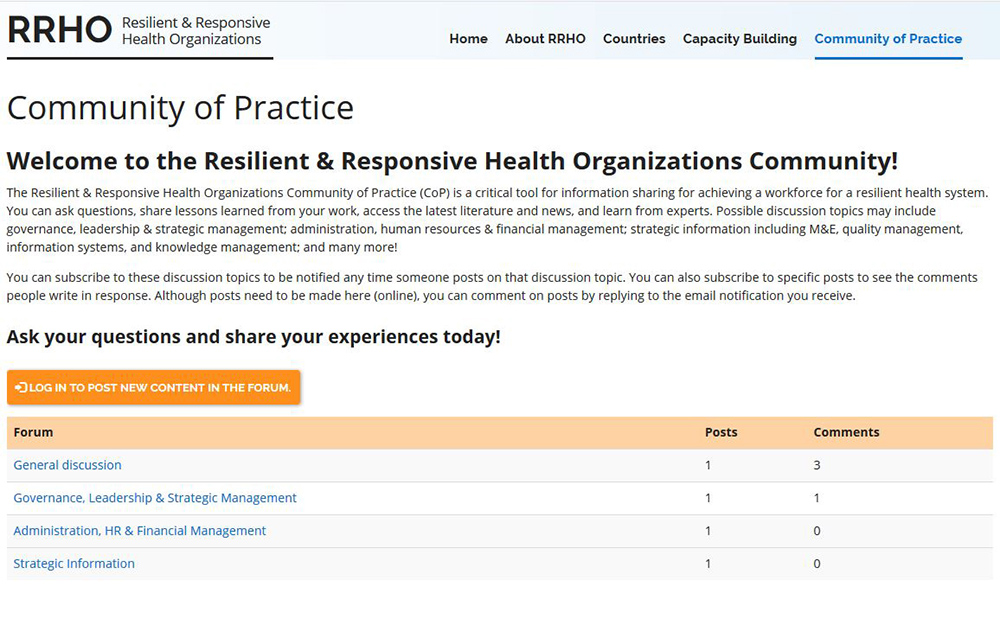Image of the Community of Practice Forum Page, showcasing the page and the forum.