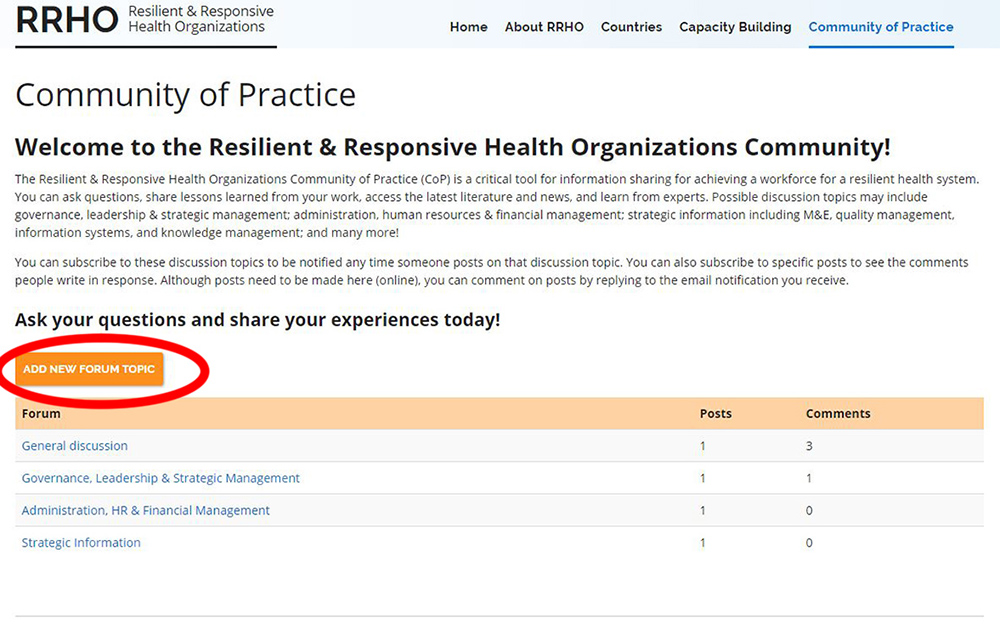 Image of the Community of Practice Forum Page, showcasing the create new forum topic button.